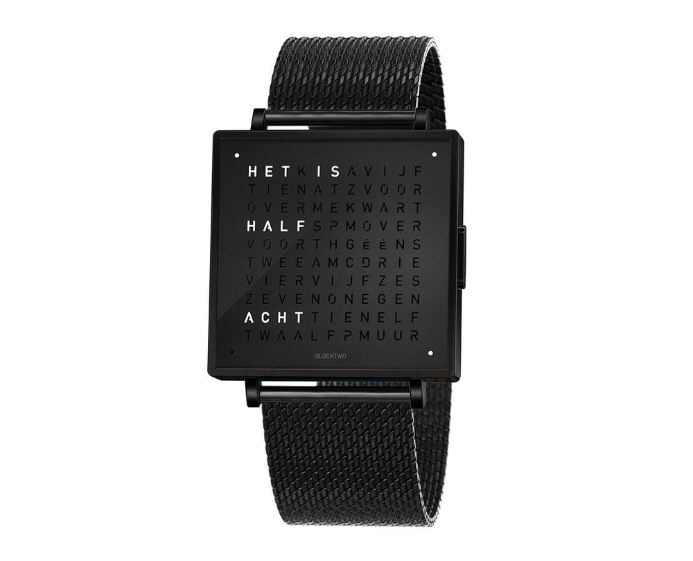 Qlocktwo Watch Black Steel horloges - 1