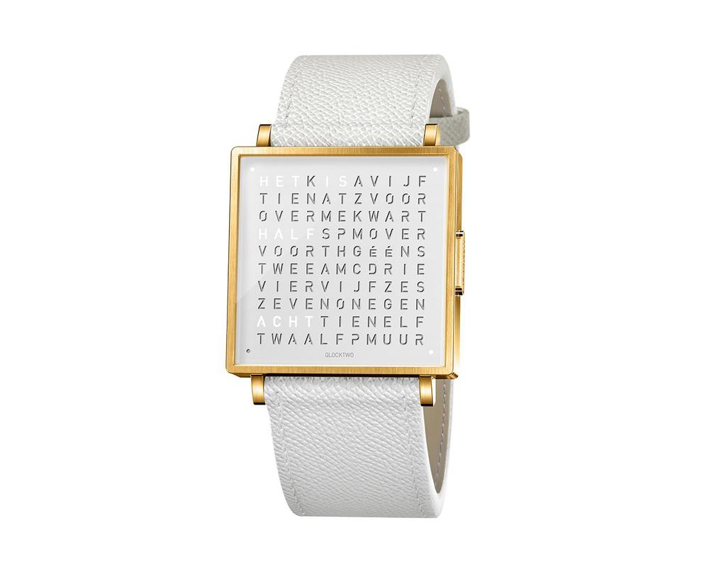 Qlocktwo Watch Gold White horloges - 1