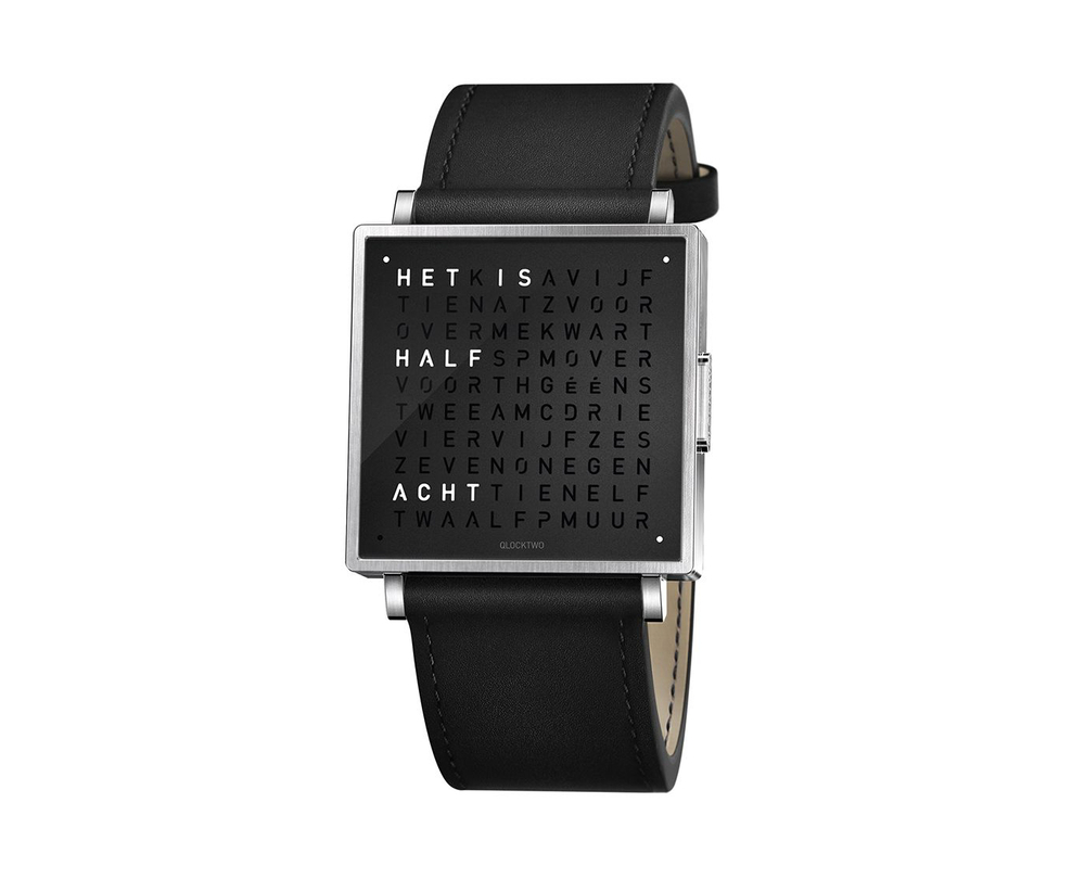 Qlocktwo Watch Pure Black horloges - 1