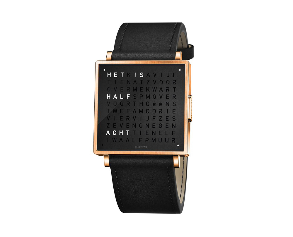 Qlocktwo Watch Rose Black horloges - 1
