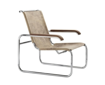 Thonet S 35 L Pure Materials fauteuil buffelleer