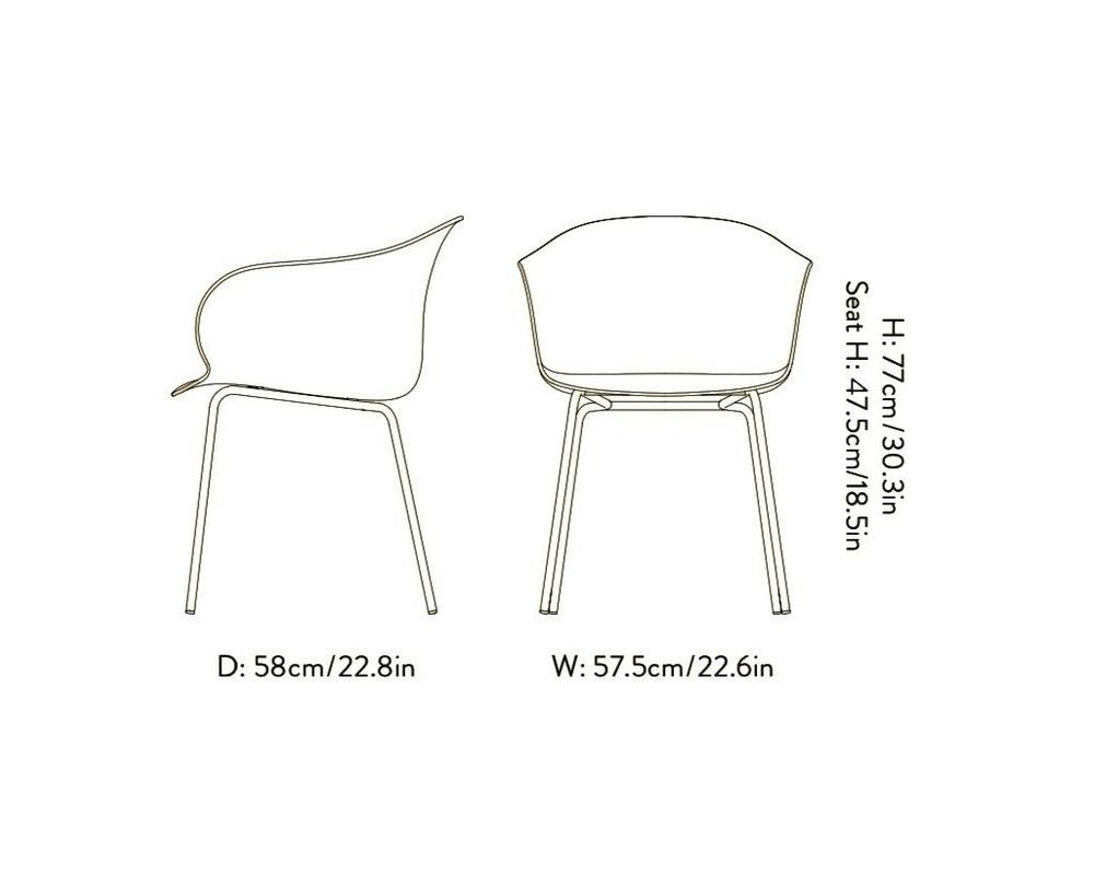 &Tradition Elefy JH28 stoel met armleuning onderstel messing - 2