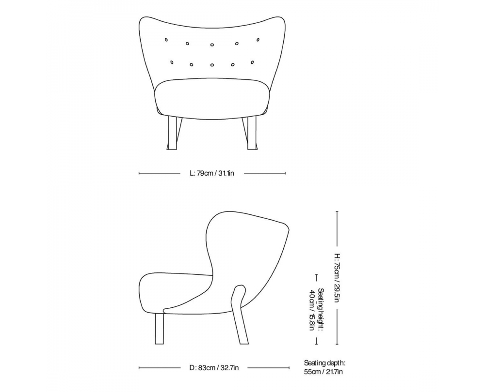 &tradition Little Petra VB1 fauteuil onderstel eiken - 5